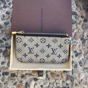 ❤️Louis Vuitton key pouch denim mini Lin
